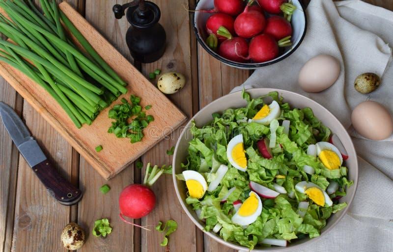 Vitaminsallad från grönsallat, rädisan, salladslökar och ägg, kryddade med grönsakolja och senap i platta på träbakgrund arkivfoto