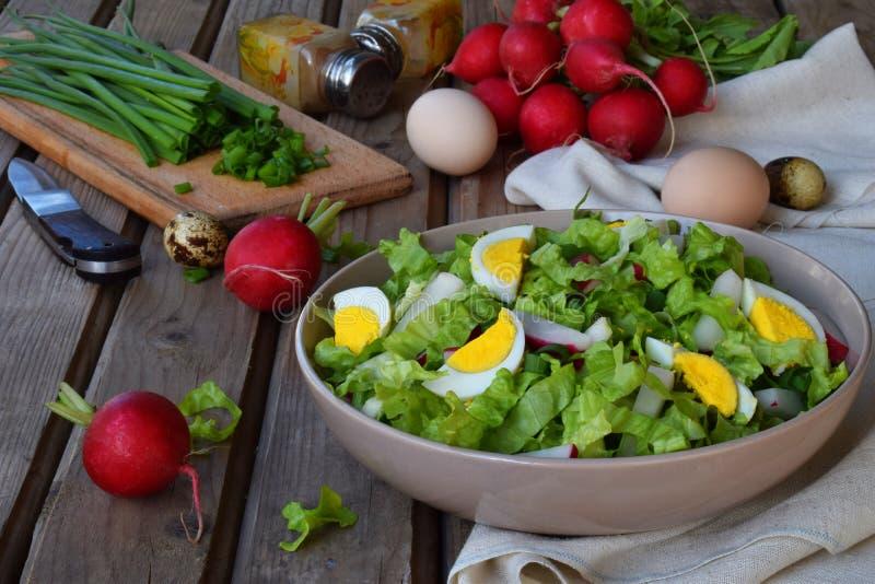 Vitaminsallad från grönsallat, rädisan, salladslökar och ägg, kryddade med grönsakolja och senap i platta på träbakgrund royaltyfri bild