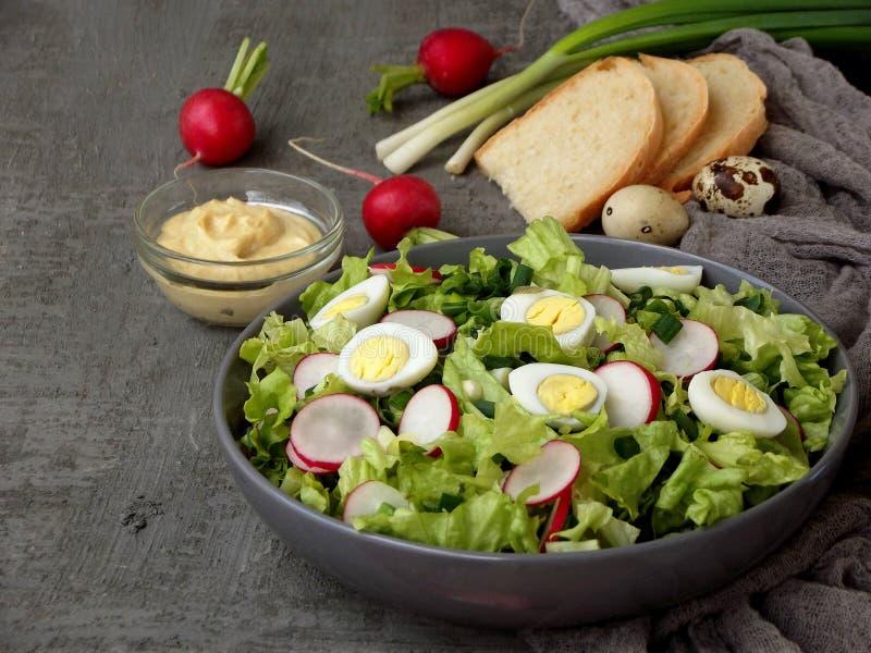 Vitaminsallad från grönsallat, rädisan, salladslökar och ägg som kryddas med grönsakolja och senap i platta på grå färger, hårdna arkivfoton