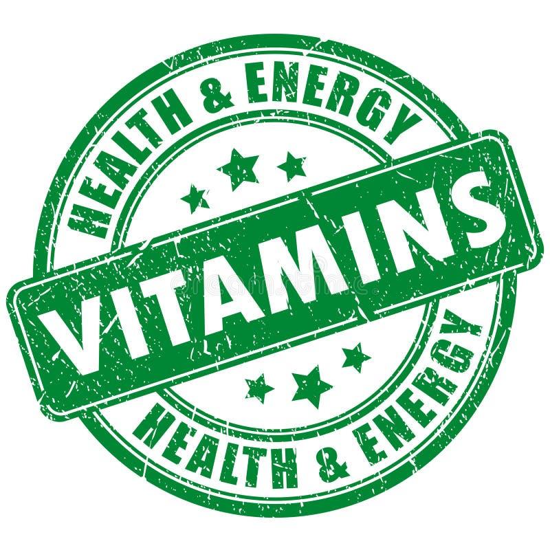 Vitaminstämpel stock illustrationer