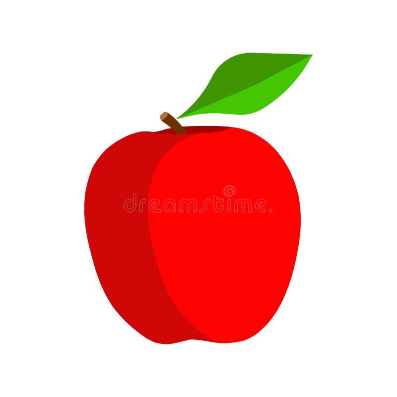Vitaminsymbol-Vektorikone Apples rote natürliche vegetarische Rohes Blatt des pflanzlichen Lebensmittels der Frucht Reife flache  vektor abbildung