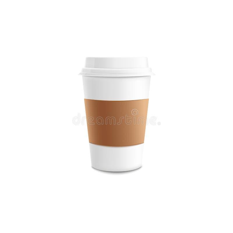 Vitbok eller plast- takeaway kaffekopp med den bruna muffmodellen royaltyfri illustrationer