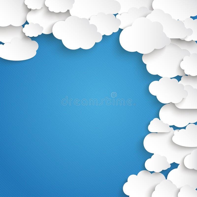 Vitbok fördunklar blå himmel för sidan stock illustrationer