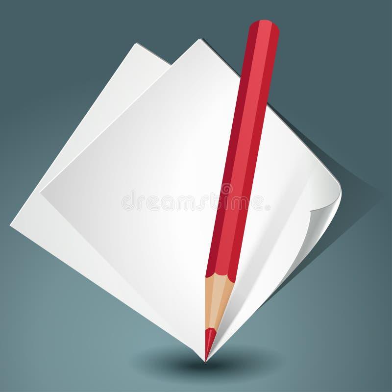 Vitbok med en röd blyertspenna royaltyfri illustrationer