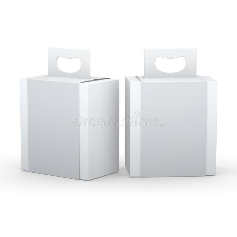 Vitbokasken med grå färger slår in och behandlar att förpacka, att fästa ihop som är passande stock illustrationer