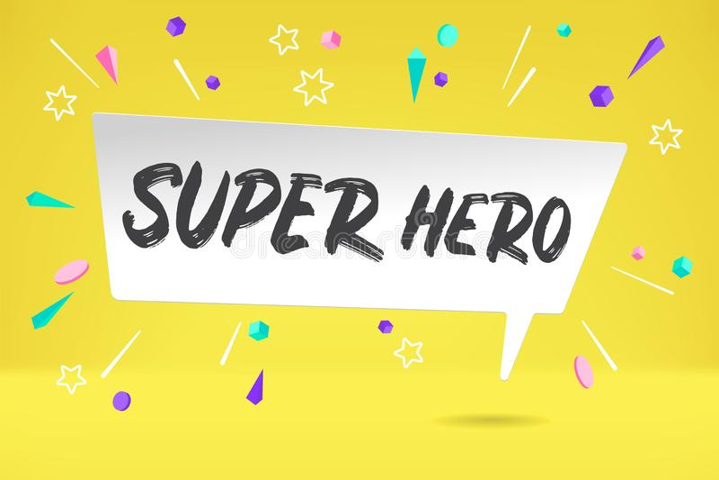 Vitbokbubblamoln med den toppna hjälten för text för sinnesrörelse, motivation, positiv design Affisch med molnsamtalet, text stock illustrationer