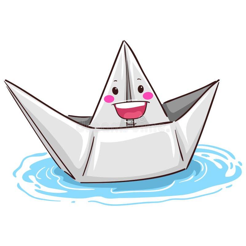 Vitbokfartygmaskot på vatten royaltyfri illustrationer