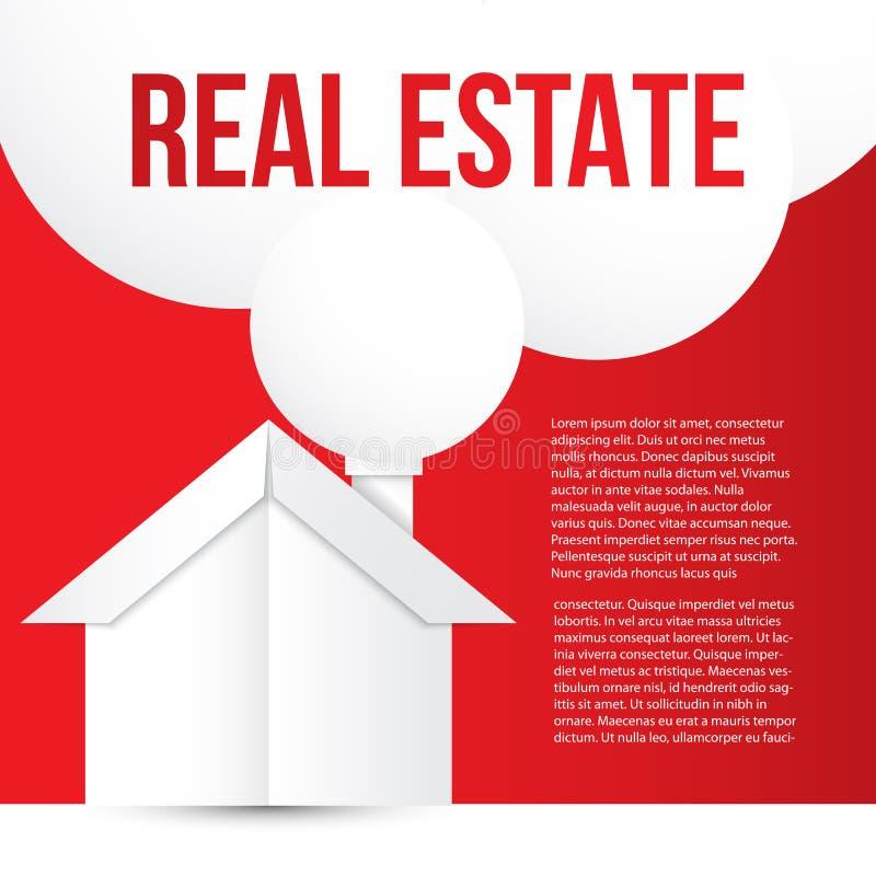 Vitbokhus på röd bakgrund Röken från lampglaset som anförandebubbla Begrepp för baner för företags identitet eller rengöringsduk  royaltyfri illustrationer
