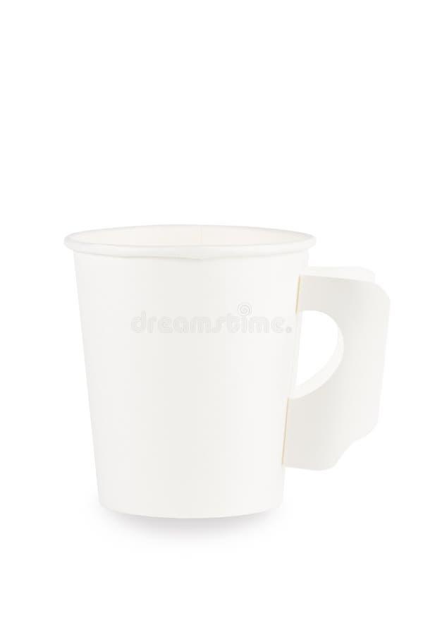 Vitbokkaffekopp på vit Snabb bana arkivfoton