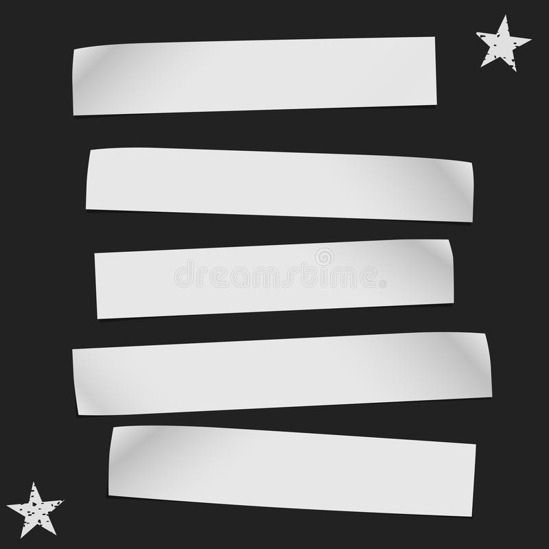 Vitbokremsor med krullade hörn i horisontalposition, papper för anmärkning är på svart bakgrund vektor stock illustrationer