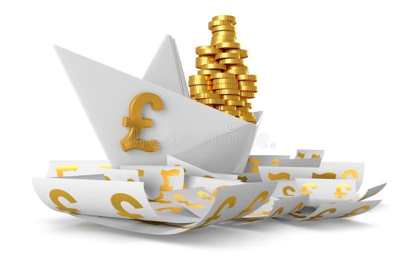 Vitbokskepp GBP vektor illustrationer