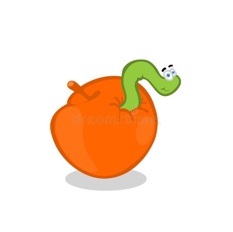 Vite senza fine all'interno della mela illustrazione di stock