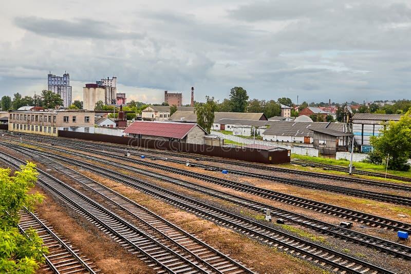 Railway and plants, Vitebsk, Belarus. stock photo