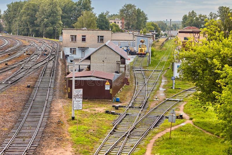 Industrial landscape on railway, Vitebsk, Belarus. royalty free stock photography