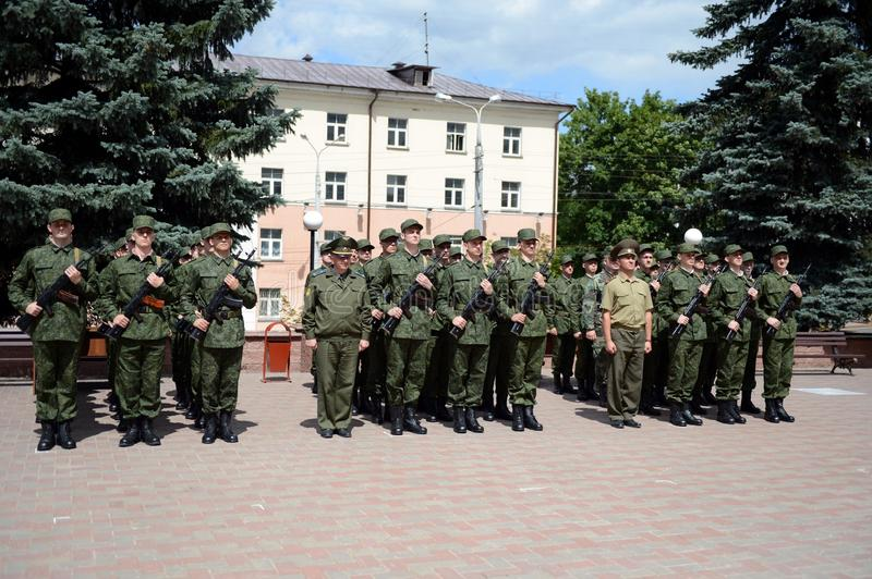 Students of the Department of Military Training and Extreme Medicine of Vitebsk State Medical University stock image