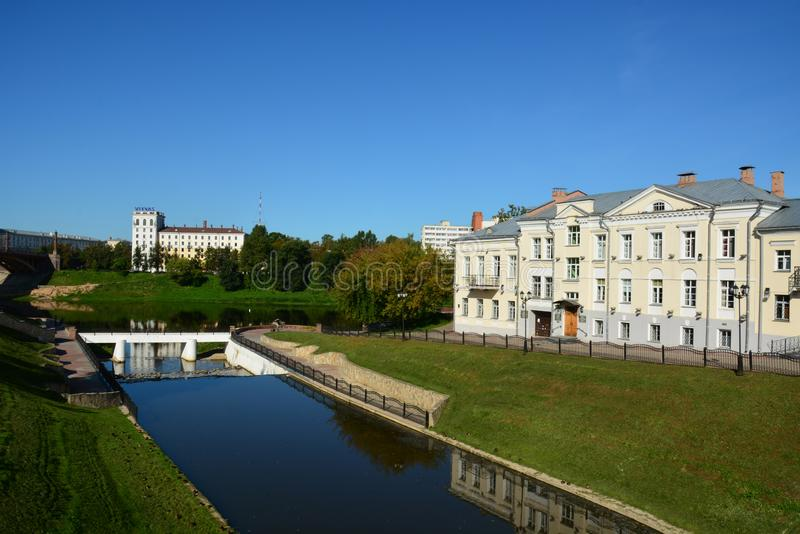 View of the historical center of Vitebsk.Western Dvina River and Vitba River. Vitebsk, Belarus - 25/08/2019: View of the historical center of Vitebsk.Western stock images