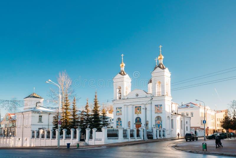Vitebsk Vitryssland Sikt av den ortodoxa domkyrkan av helgonet Basil In Sunny Winter Day royaltyfri foto