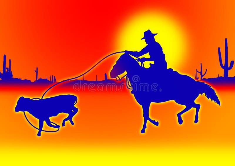Vitela que roping no azul ilustração stock