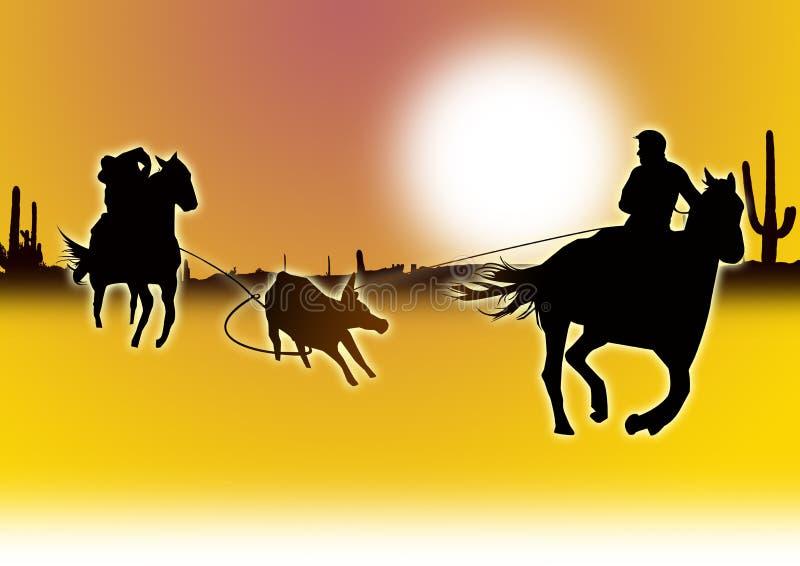Vitello che roping nel deserto illustrazione di stock
