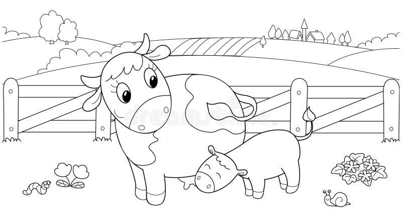 Vitello d'alimentazione della mucca sveglia illustrazione vettoriale