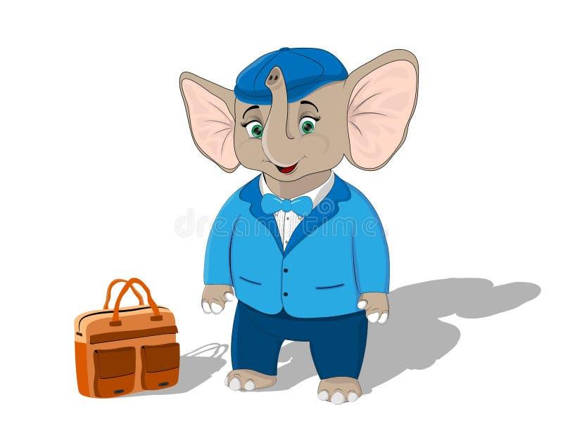 Vitello dell'elefante in una giacca blu ed in un cappuccio alzato con una cartella arancio su un fondo bianco illustrazione di stock