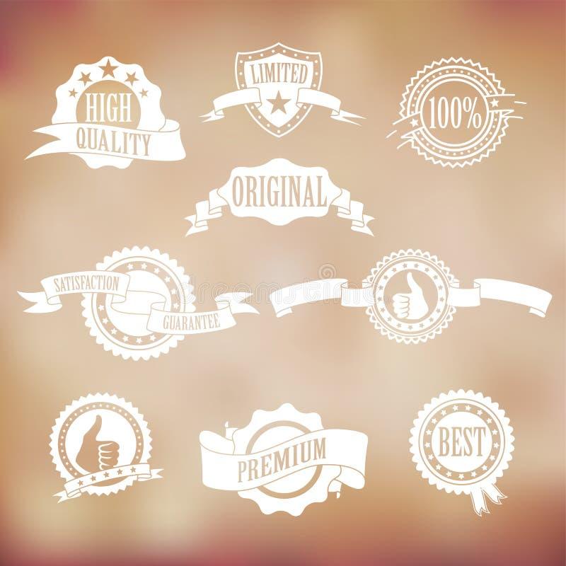 Vitemblem och band royaltyfri illustrationer
