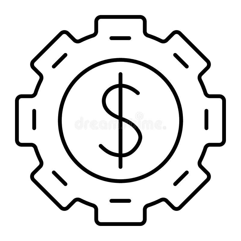 Vitesse avec le dollar à l'intérieur de la ligne mince icône Roue dentée avec l'illustration de vecteur de symbole dollar d'isole illustration de vecteur