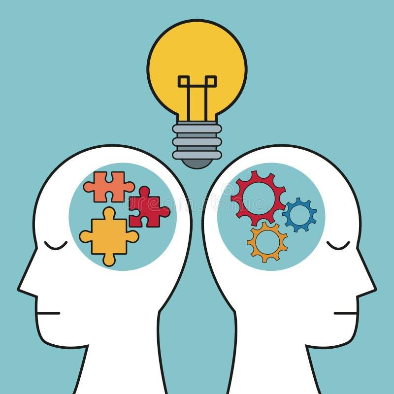 Vitesse de puzzle d'ampoule de têtes humaines de profil illustration libre de droits