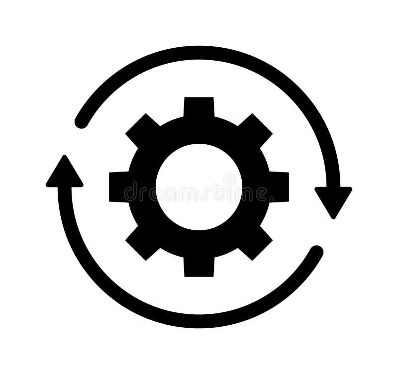 Vitesse de roue de dent et ligne icône de flèche illustration de vecteur
