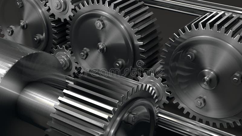Vitesse et dent industrielles avec le métal argenté images libres de droits