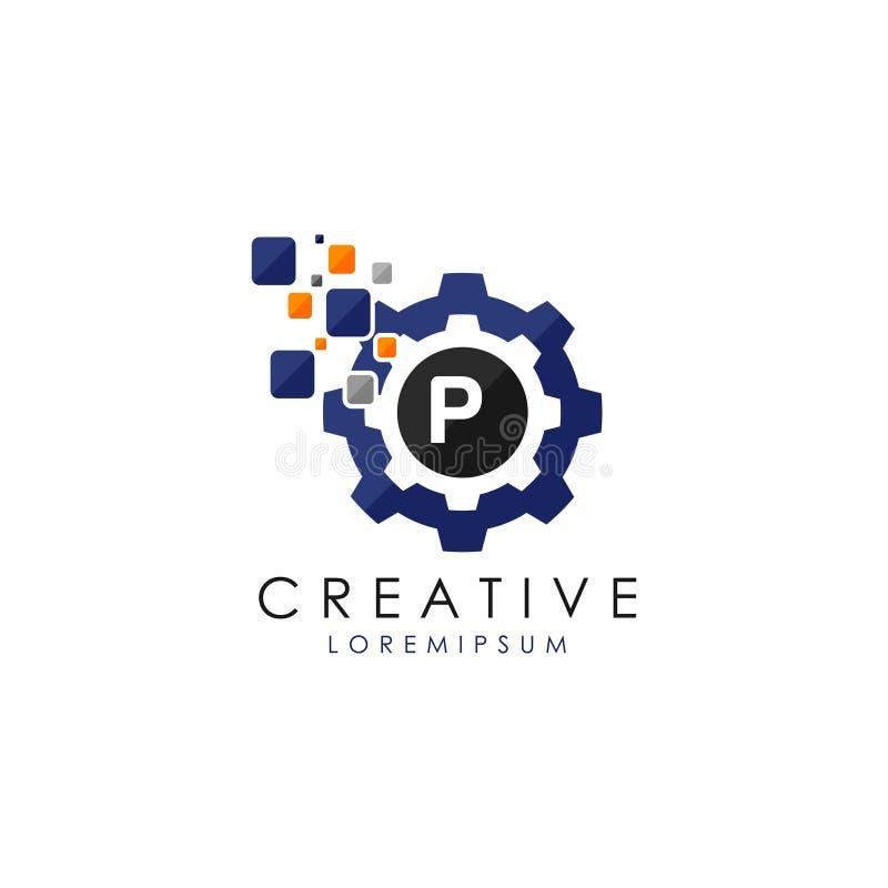 Vitesse Logo Vector de Digital de données de la lettre P illustration de vecteur