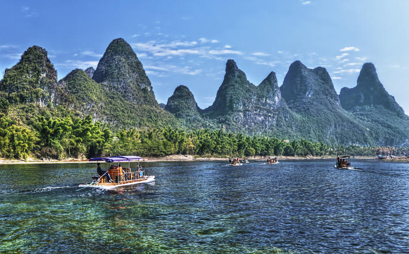 Vitesse normale de fleuve de la Chine Guilin Li photographie stock libre de droits