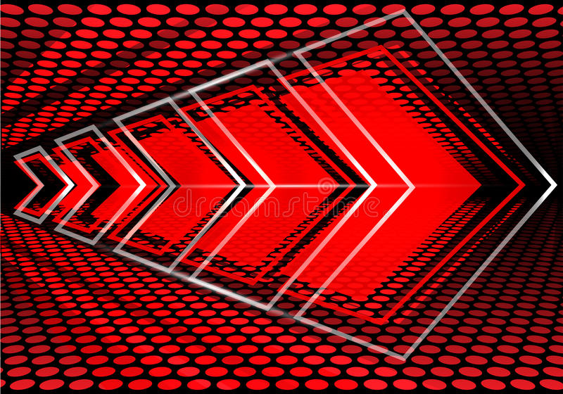 Vitesse rouge abstraite de flèche sur le vecteur moderne de fond de conception de maille de cercle illustration de vecteur