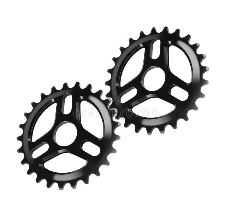 Vitesses de bicyclette, roues dentées en métal d'isolement photos libres de droits