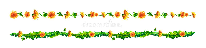 Viti floreali, confine, liana con le foglie e fiori dei denti di leone Acquerello del disegno royalty illustrazione gratis