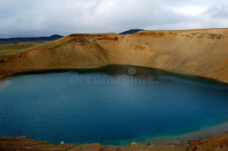 Viti lake in the Central Iceland. Viki is a geothermal lake of mineral-rich, sulphurous, opaque blue water situated in the Central part of Iceland royalty free stock photography