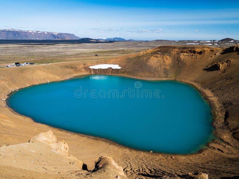 Viti, le cratère de lac chez Krafla, Islande photographie stock