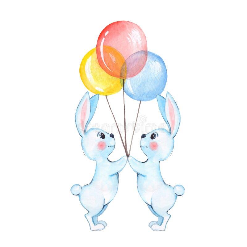 Vitkaniner med ballonger stock illustrationer