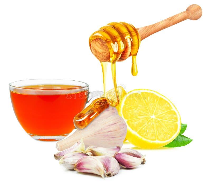 vitlök, honung, citron och te royaltyfri foto