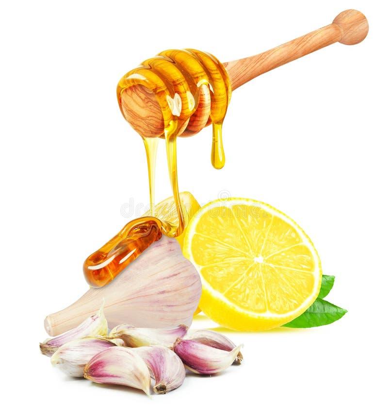 Vitlök, honung och citron royaltyfri fotografi