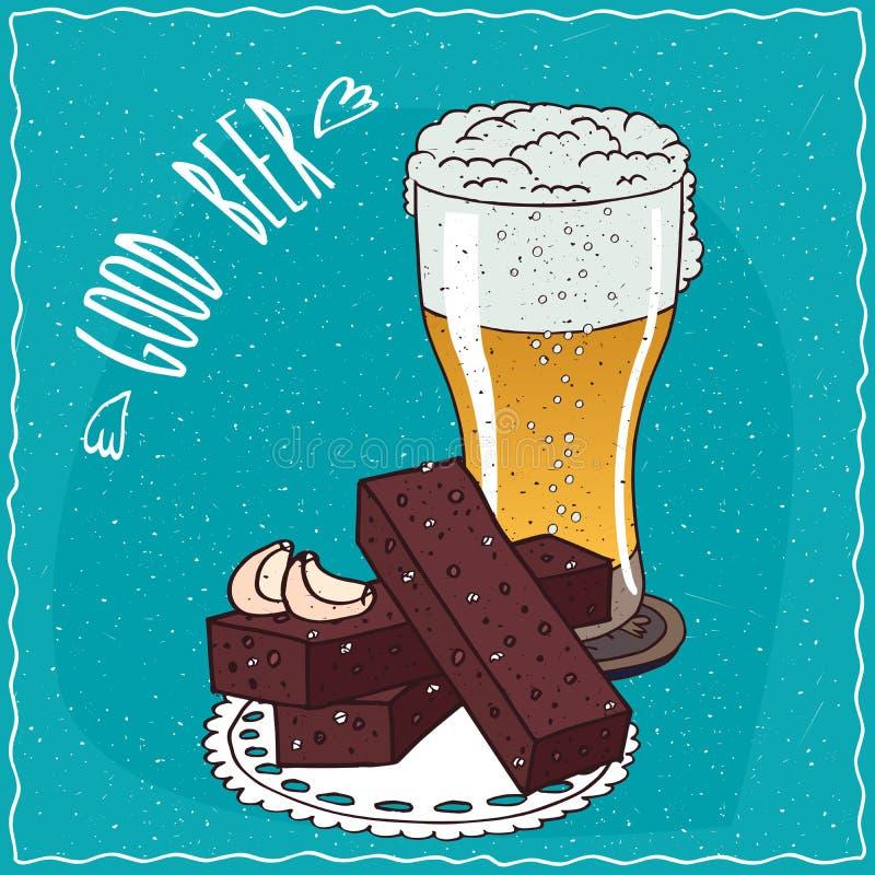 Vitlökbröd med exponeringsglas av ljust öl stock illustrationer