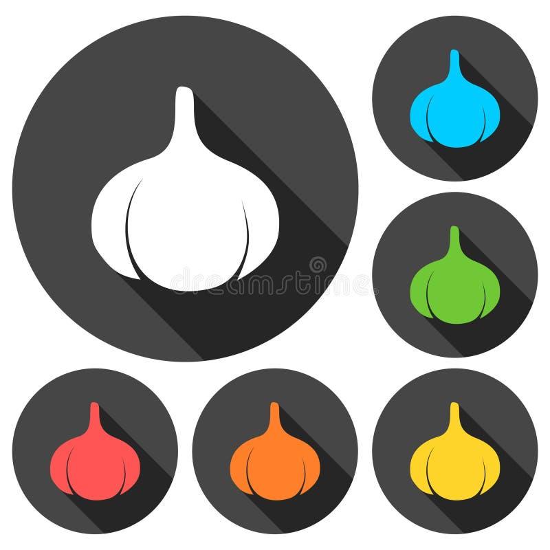 Vitlöksymbolsuppsättning med lång skugga stock illustrationer