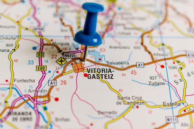 Vitoria-Gasteiz på översikt arkivfoto