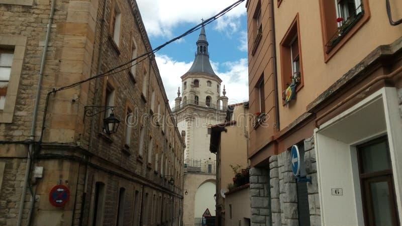 Vitoria Spanien Sikt av domkyrkan av Santa Maria de Vitoria royaltyfria foton