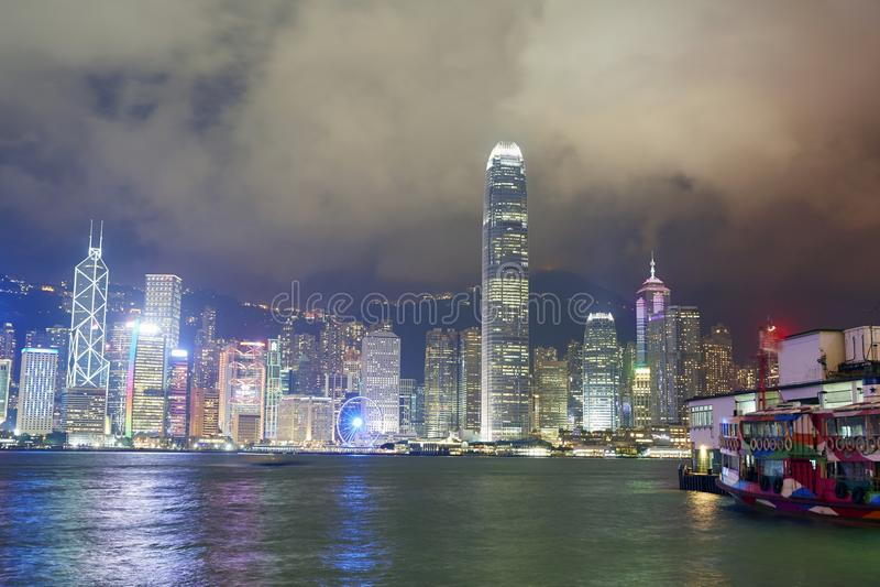 Vitoriahaven, Hong Kong-horizon royalty-vrije stock foto's