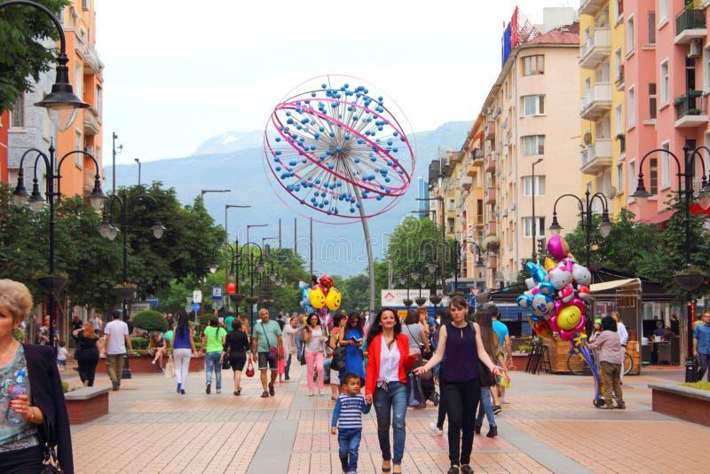 Vitosha uliczny Sofia Bułgaria obrazy royalty free