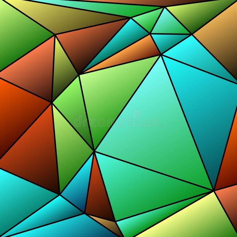 Vitrage astratto con la multi griglia triangolare di colori illustrazione di stock