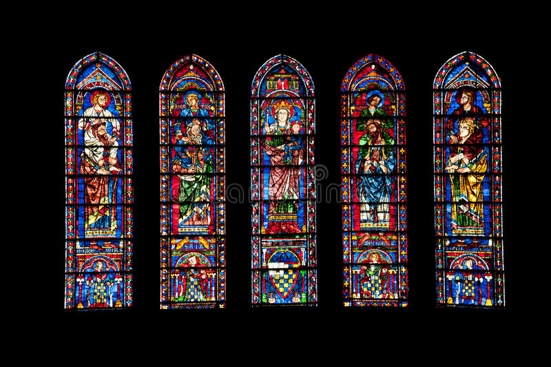 Vitrages de cathédrale de Chartres photos libres de droits