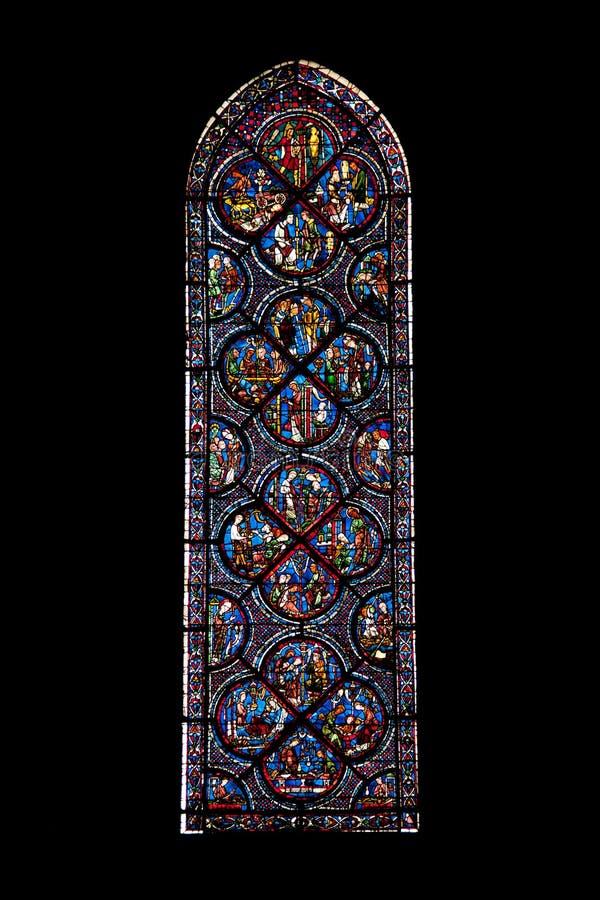 Vitrages de la catedral de Chartres foto de archivo libre de regalías