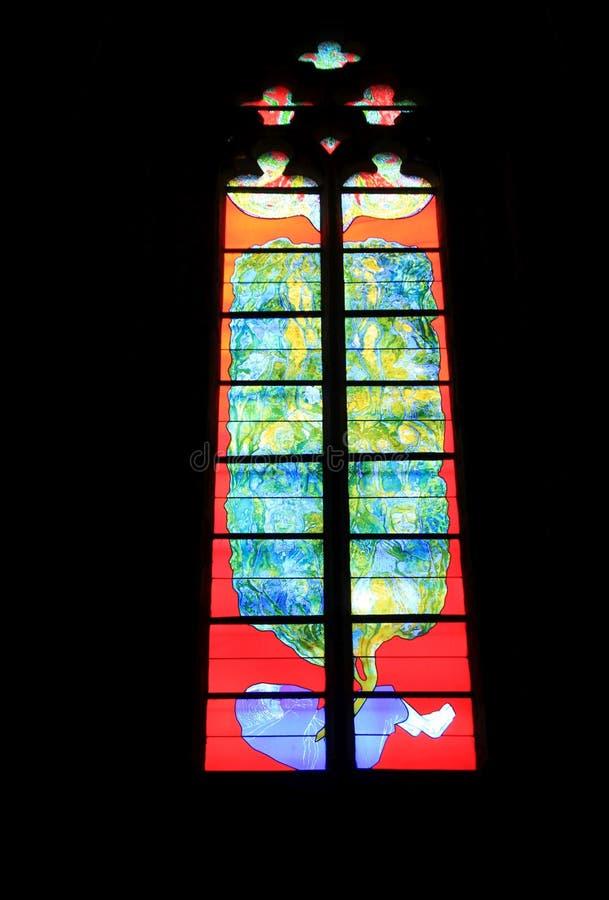 Vitrail, Cathedrale Notre-Dame, Rodez (Francja) zdjęcie stock